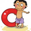 Boy holding inflatable ring — Stock Vector