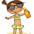Girl in swimsuit with sunscreen — Stock Vector