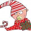 Funny baby boy in christmas hat with gift box — Stock Vector