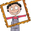 Stock Vector: The boy holds a large frame