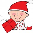 Vector de stock : Happy little boy at Christmas time
