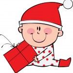 glücklich kleiner Junge in der Weihnachtszeit — Stockvektor