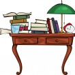 Stock Vector: Retro desk with pile of books