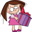 Little funny girl with gift — Stock Vector #14542971