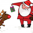 Santa gives Christmas gifts to his reindeer — Stock Vector
