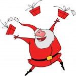 Dancing Santa with gifts — Stock Vector