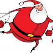 Running Santa with gifts — Stock Vector