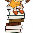 Girl sitting on a big pile of books — Stock Vector