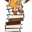 Girl sitting on a big pile of books - Stock Vector