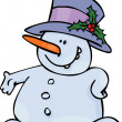 Snowman in a Big Hat - Stock Vector