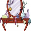 Toilet table with Mirror and many women&amp;#039;s stuff - Stock Vector