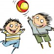 Two boys playing ball — Vector de stock #14543173