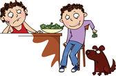 The boy feeds the dog broccoli — Stock Vector