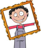 The boy holds a large frame — Stock Vector
