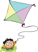 Top view of a boy with a kite — Stock Vector