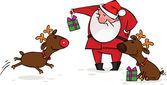 Santa da regalos de navidad a sus renos — Vector de stock