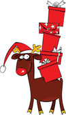 Christmas Reindeer with Santa Hat and huge pile of gift — Cтоковый вектор