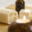 Стоковое фото: Candles and Massage oil in Home Spa