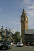 Street Scene in London with Londons Cab and Big Ben .Great Brita — Stock Photo