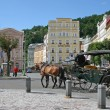 Street Scene Karlovy Vary,Czech famous spa place — Stock Photo