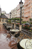 Empty Street cafe after the rain — Stock Photo
