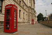 Red phone booths near Whitehall in London — Stock Photo