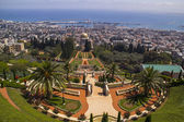 City of Haifa in Israel from the Bahai Garden ,View to Sea and harbor — Stock Photo