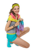 Sports girl in shorts and a t-shirt. — Stock Photo