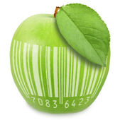 Green apple with bar-code — Stock Photo