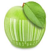 Zielone jabłuszko z kodu kreskowego — Zdjęcie stockowe