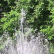 Fountain water sprays on nature background on a sunny day. Close-up. HD 1920x1080. — Stock Video