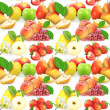 Seamless pattern with fruits and berries — Stock Photo