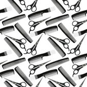 Seamless pattern of black-and-white hair-dressing tools — Foto de Stock