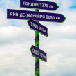 Signpost with many arrows pointing on sky — Stock Photo