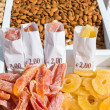 Sale of various nuts and sweets — Stock Photo