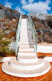 Closeup white staircase — Stock Photo