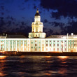 Night view of St Petersburg. Kunstkamera — Foto Stock
