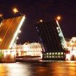 Night view of Palace Bridge. St Petersburg, Russia — Stock Photo