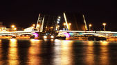 Night view of Bridge. St Petersburg, Russia — Stock Photo