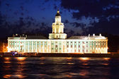 Night view of St Petersburg. Kunstkamera — Stock Photo