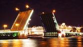 Night view of Palace Bridge. St Petersburg, Russia — Stock Photo