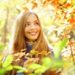 Portrait of a beautiful girl in autumn forest — Stockfoto