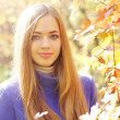 Portrait of a beautiful girl in autumn forest - 