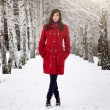 Beautiful elegant woman in red coat — Stock Photo