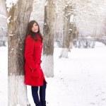 Beautiful elegant woman in red coat — Stock Photo
