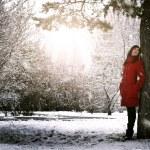 Beautiful elegant woman in red coat — Stock Photo #14746701