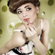 Pin-up girl with lipstick — Stock Photo #15598429