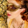 Stock Photo: Beautiful girl in carnival mask