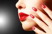 Make-up en manicure — Stockfoto