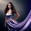 Beautiful girl in violet long dress — Stock Photo #22873276